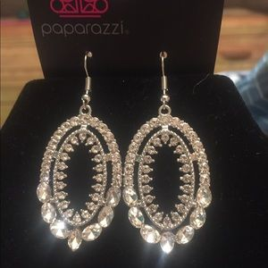 Clear oval rhinestone earrings